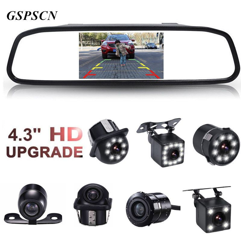 GSPSCN 4.3 inch Car HD <font><b>Rearview</b></font> Mirror Monitor CCD Video Auto Parking Assistance LED Night Vision Reversing Rear View Camera