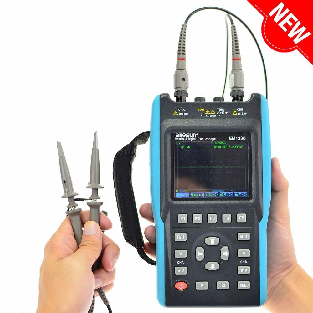 All-sun Digital Oscilloscope 25-100MHz 100M-1GSa/s 2CH + 6000 Counts DMM Handheld Portable Waveform USB LCD Backlight EM1230