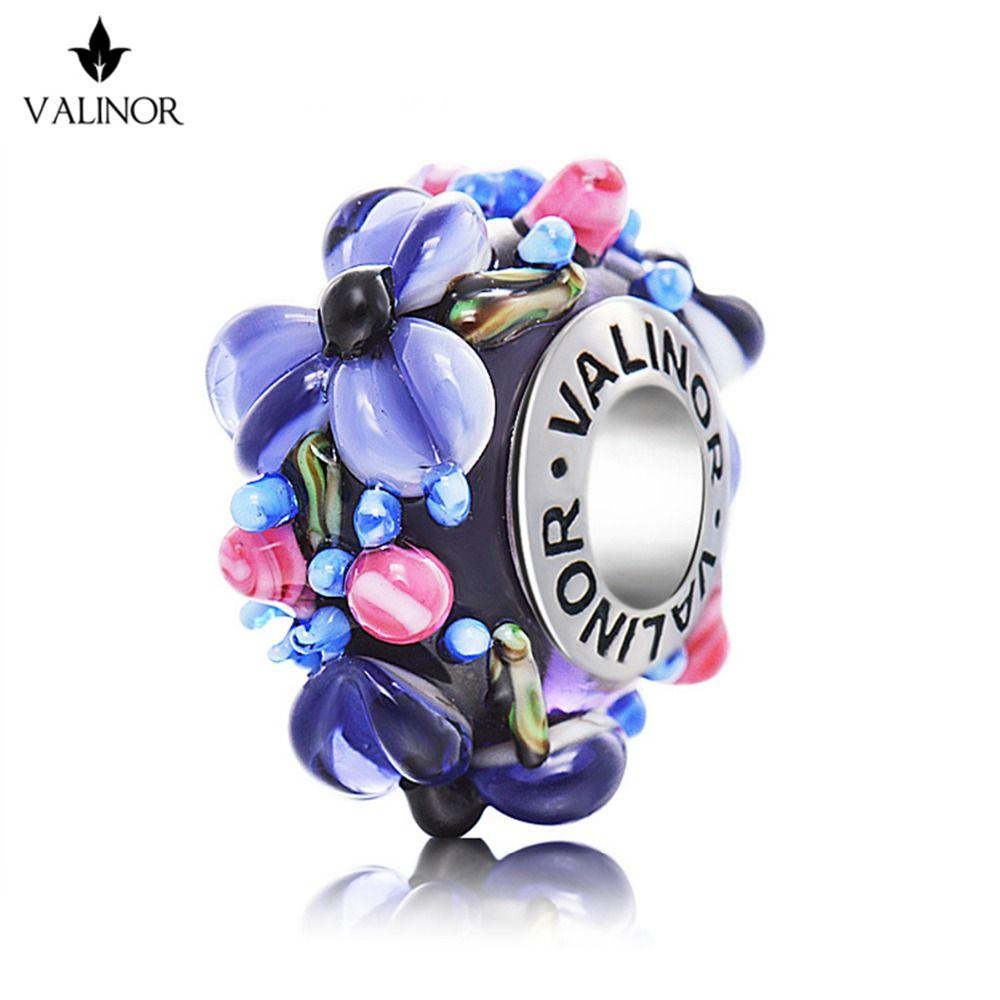 Фиолетовые цветы стеклянные бусины 925 серебро Fit Браслеты для Для женщин jewelry Mum G gcll039-2