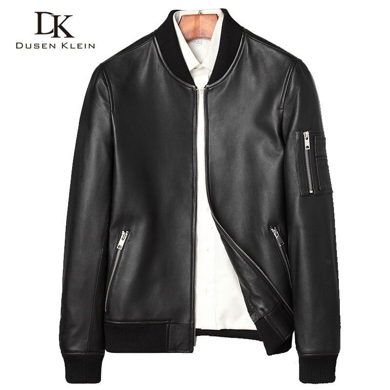 Designer Leather spring coats men Dusen Klein Nature sheepskin Simple Fashion luxury leather men leather jacket black 71C7115