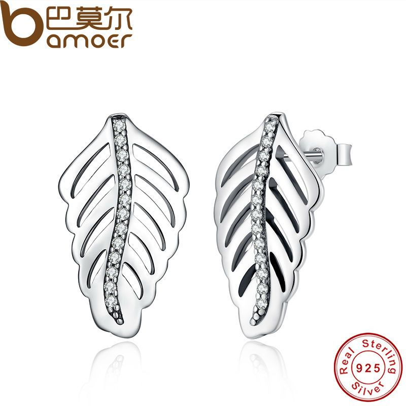 BAMOER Romantic Shimmering Feathers Clear CZ  Stud Earrings 100% 925 Sterling Silver Jewelry Valentine's Day Gift PAS427