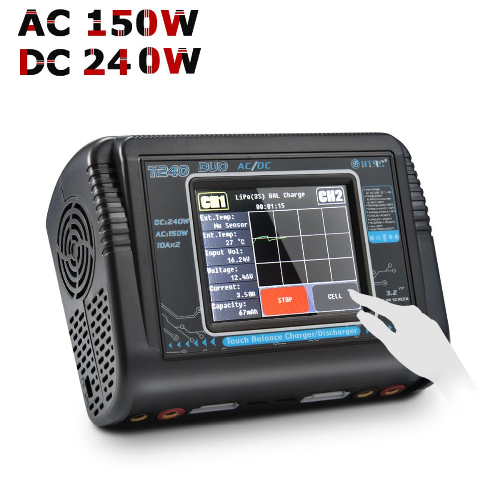 RC Lipo Charger HTRC T240 DUO AC 150W/DC 240W Touch Screen Dual Balance Discharger for LiPo LiHV LiFe Lilon NiCd NiMh Pb Battery