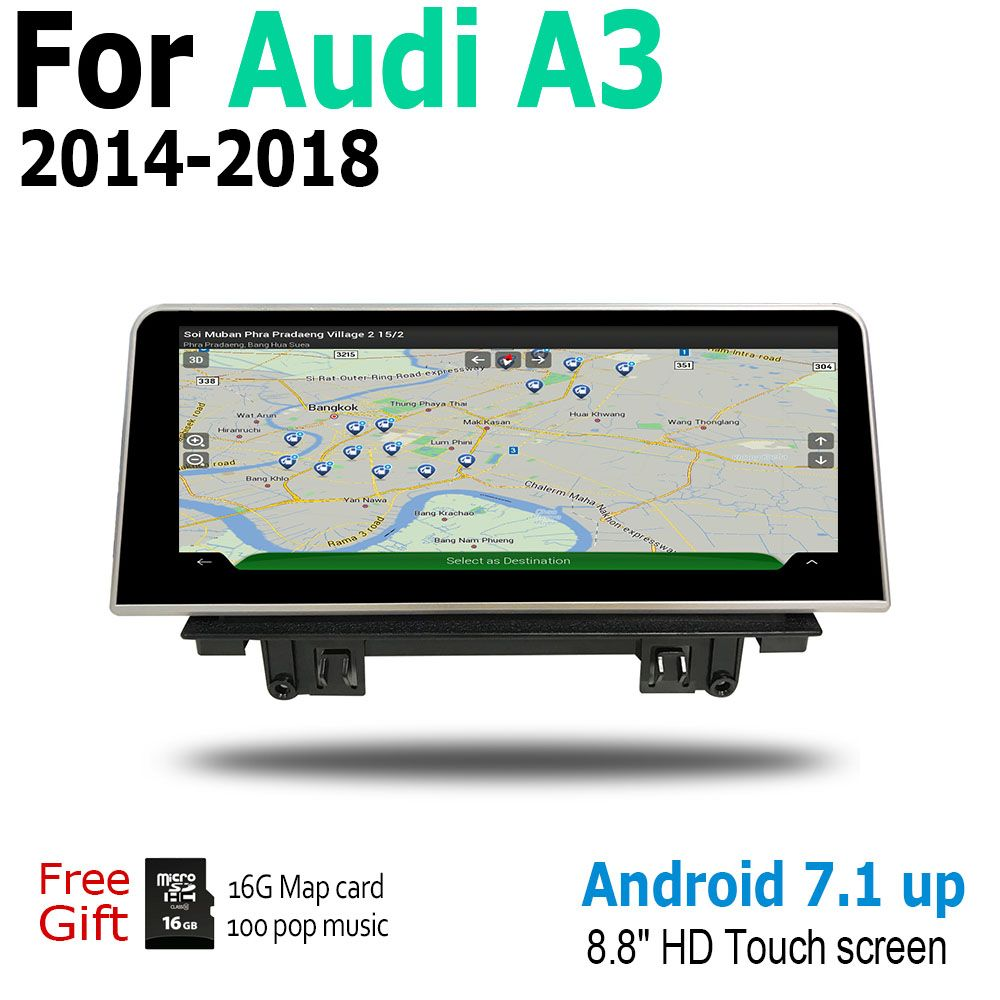 Auto Android Für Audi A3 8V 2014 ~ 2018 MMI Touchscreen Radio Audio Multimedia-Player Stereo Display navigation GPS Navi Karte