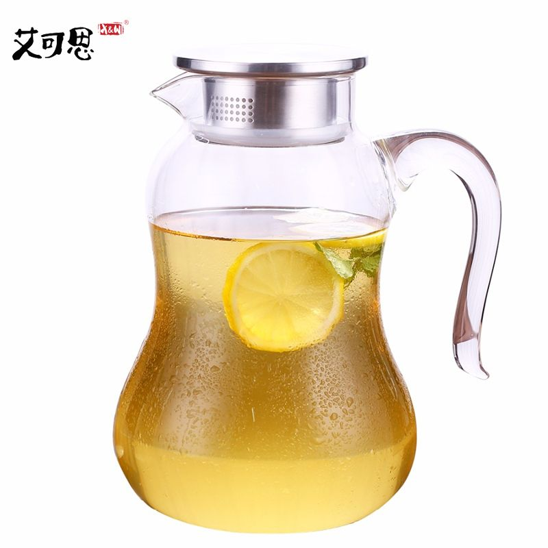 X&W 2L Transparent Glass Water Jug Tea Pot With Stainless Steel Lid Big Handle Boiling Hot Selling Water Kettle Large Volume