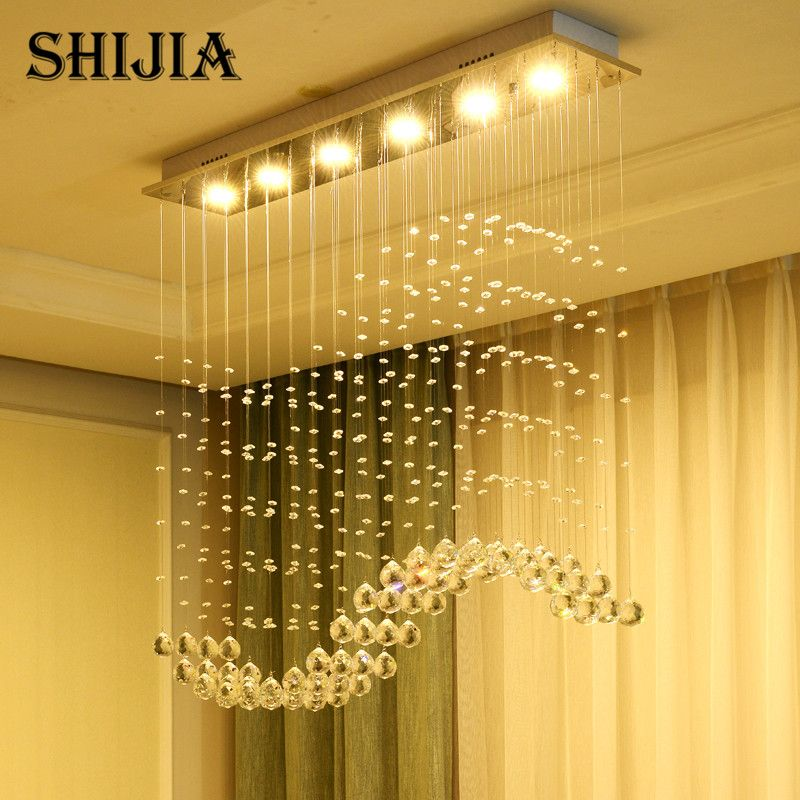 Modern Wave K9 Crystal Chandelier for Dining Room LED Crystal Ball S Shade Hanging Fixture Rain Drop Remote Lighting Lamp