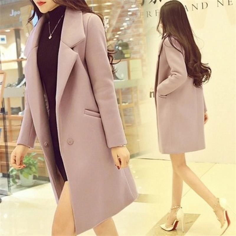 Ms. woolen coat long section 2018 fall and winter clothes new Slim female students College Wind woolen coat female overcoat A938