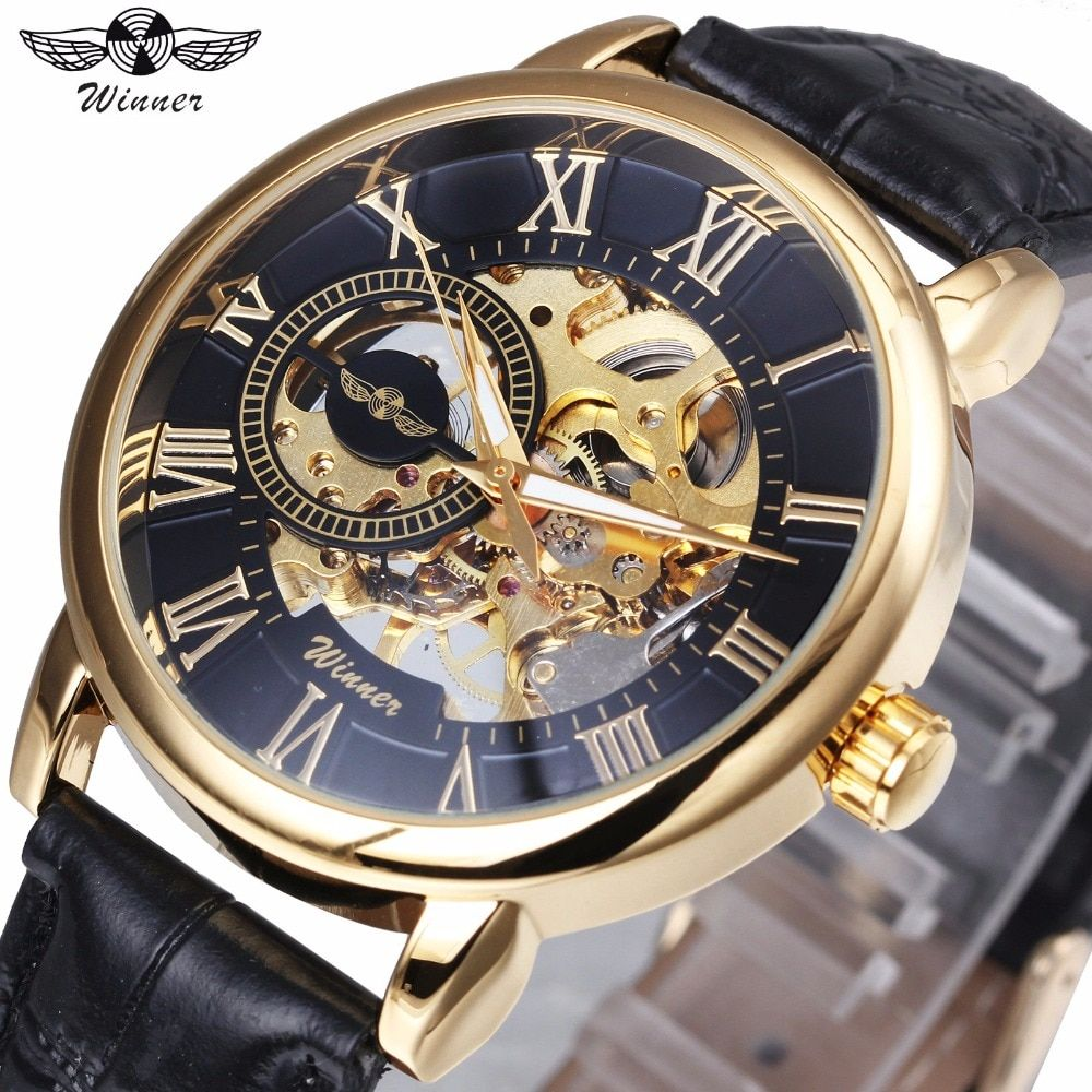 WINNER Top Brand Luxury Golden Skeleton Mechanical Watch Men Leather Strap Wristwatches Only for VIP Wholesale Dropship Customer