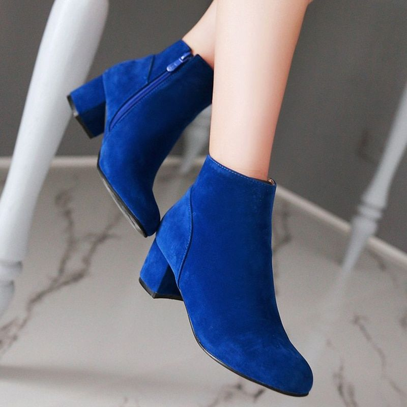 Grande taille 34-43 solide chaussures femme bottines décontracté automne hiver bottes talons épais mode chaussures femme