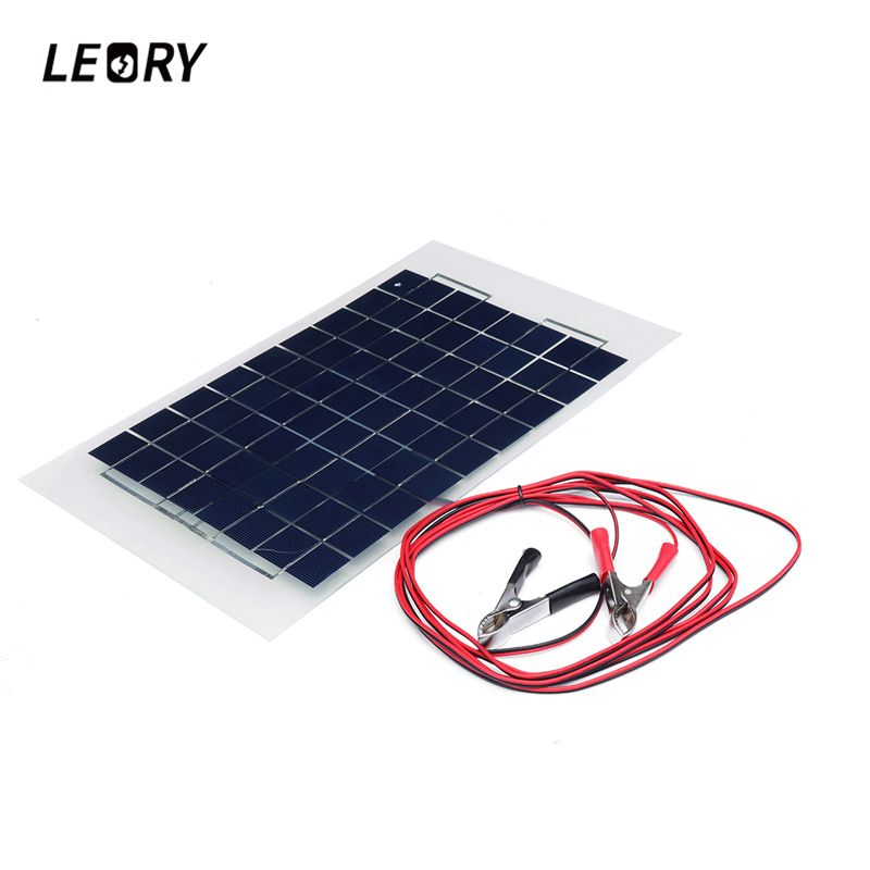 LEORY 12V 10W Solar Panel PolyCrystalline Cells DIY Solar Module Epoxy Resin With Block Diode 2 Alligator <font><b>Clips</b></font> 4m Cable