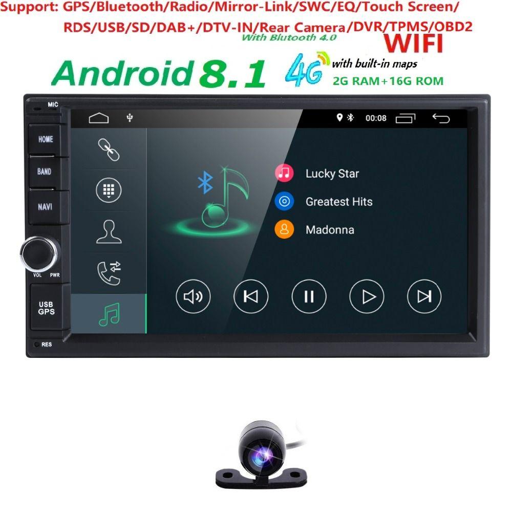 Free Camera Android 8.1 2GB RAM 1024*600 Car GPS 2Din Radio Universal Car DVD Player Double Din Stereo GPS car radio 4G WIFI CAM