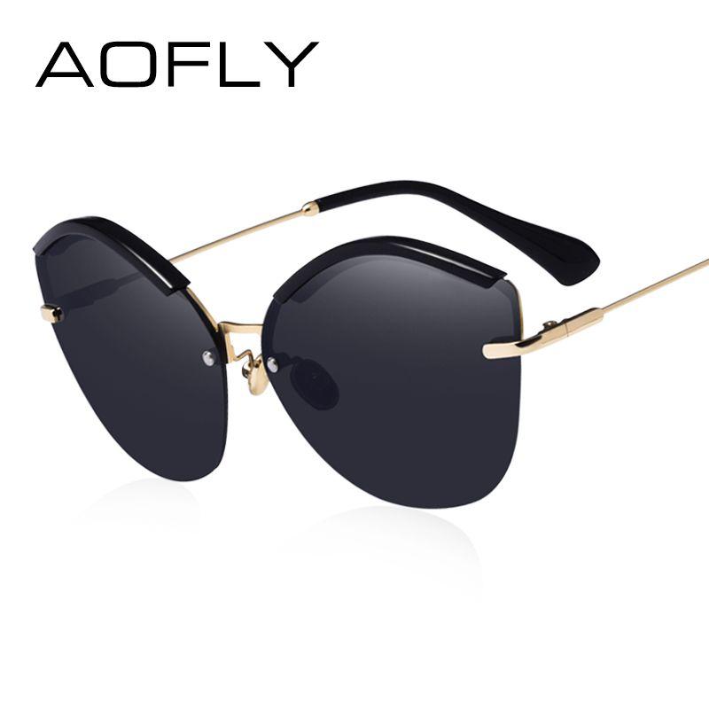 AOFLY MARKE DESIGN Sexy Katzenaugen-sonnenbrille Frauen Klassische Gradientenlinse Sonnenbrille Metall Beine Brille