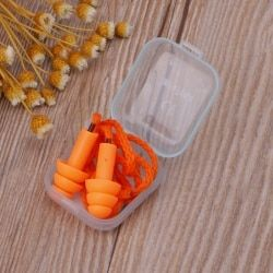 Soft Silicone Wired Ear Plugs Noise Reduction Caps Earmuffs Hearing Protection
