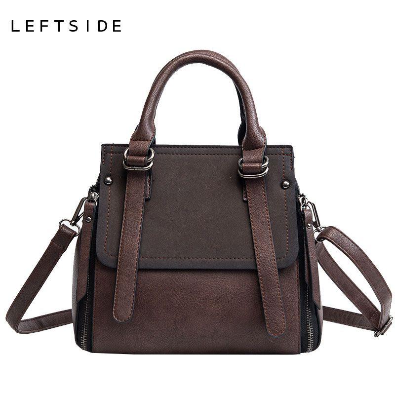 LEFTSIDE Vintage New <font><b>Handbags</b></font> For Women 2018 Black Female Leather <font><b>Handbag</b></font> High Quality Small Bags Lady Top-handle Bags Casual