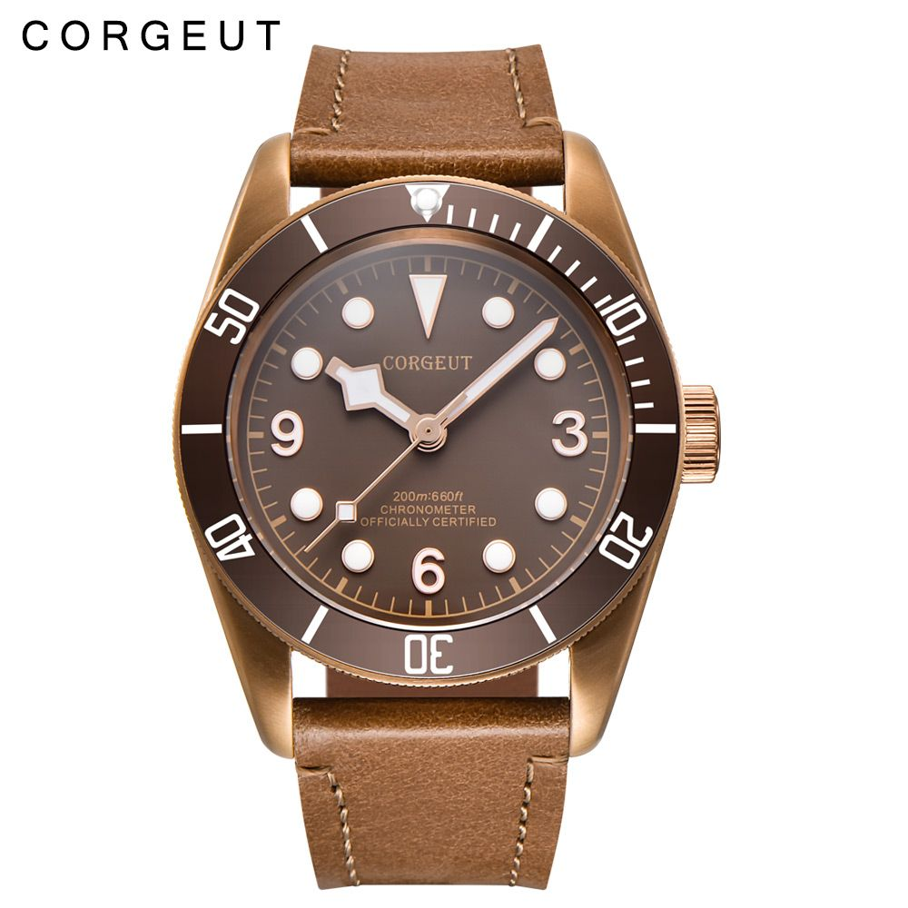 41mm Corgeut Sapphire Glass Sterile Coffee Dial PVD Miyota Automatic Mens Wrist Watch