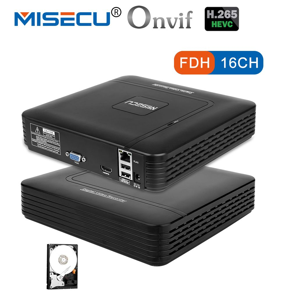 MISECU H.265 Mini NVR Full HD real P2P 16CH/8CH 5MP 16CH 1080P Video Recorder Motion Detect ONVIF For IP Camera Security System