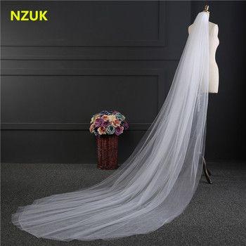 NZUK Élégant Accessoires De Mariage 3 Mètres 2 Couche De Mariage Voile blanc Ivoire Simple Voile De la Mariée Avec Peigne De Mariage Voile Chaude vente