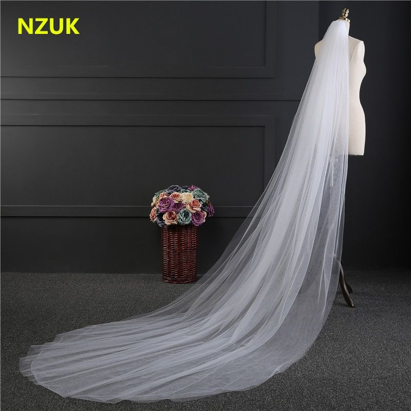 NZUK Elegant Wedding Accessories 3 Meters 2 Layer Wedding Veil White Ivory Simple Bridal Veil With Comb Wedding Veil Hot Sale