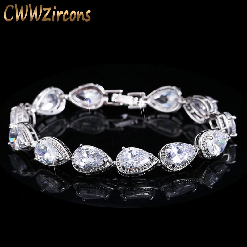 CWWZircons 2018 Fashion Womens Accessories Luxury Cubic Zirconia Water Drop CZ Stone Bracelet Bridal Wedding Jewelry Gift CB135