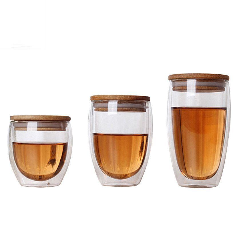 À Double Paroi En Verre Tasse de Thé Tasses À Café Transparent Isolation Verres Tasses Avec Couvercle En Bambou Creative Vaso Caneca Bière Vin Verre