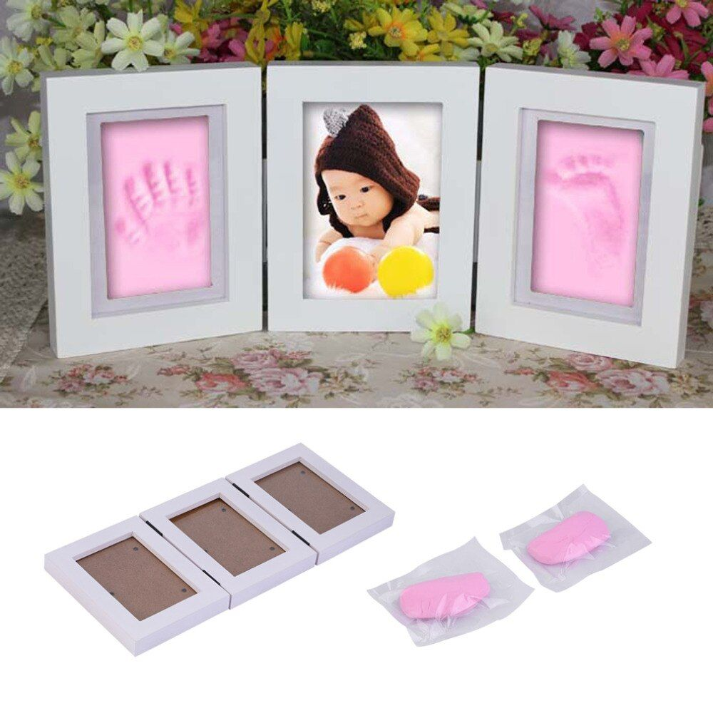 Pretty Cute Baby Photo frame DIY handprint or footprint Soft Clay Safe Inkpad non toxic easy to use Free ship best gift for baby