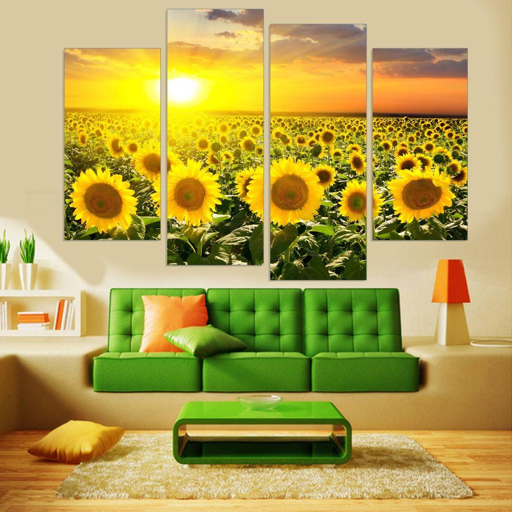 Sans cadre Moderne De Tournesol HD Imprimé Toile Peinture Fleur Mur Art Peinture Modulaire pour Salon Toile Art Imprime 4 Panneau