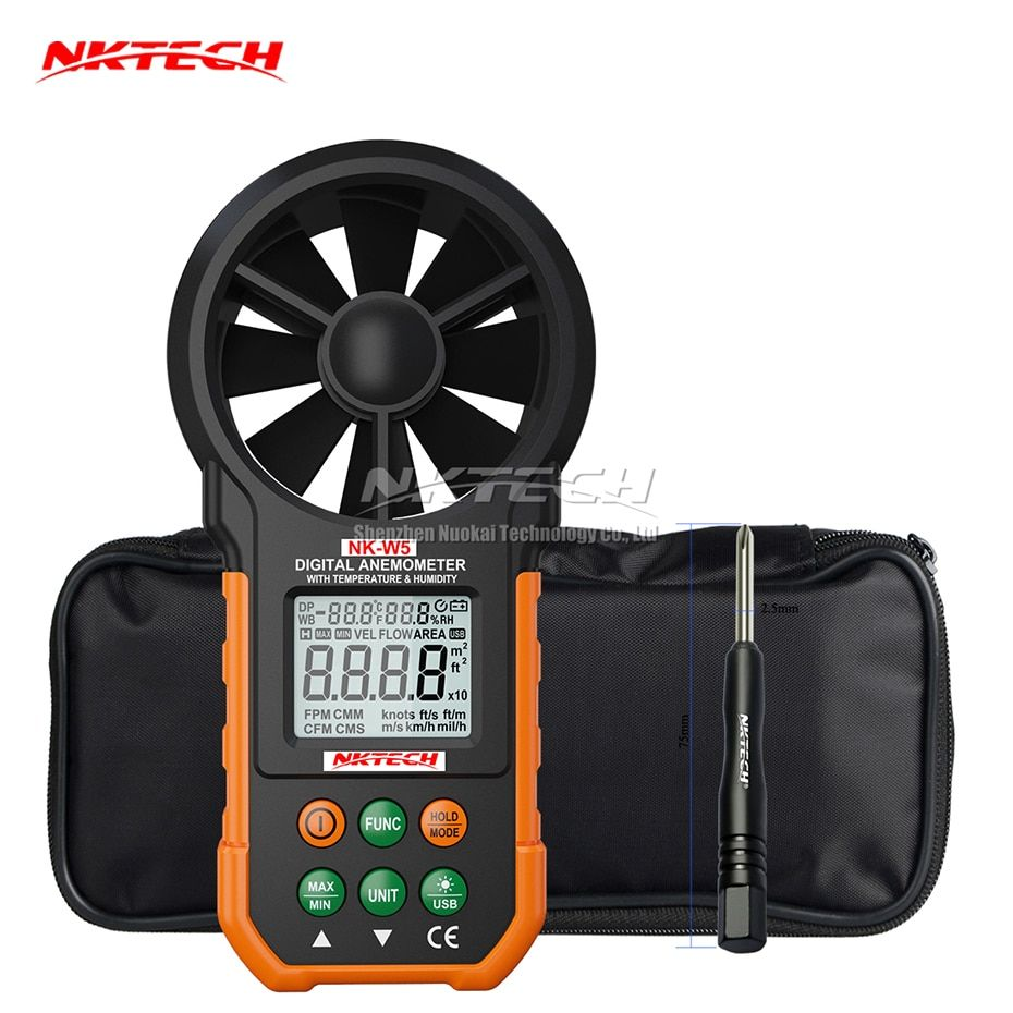 NKTECH NK-W5 Digital Anemometer Wind Speed Meter Air Flow Volume Ambient Temperature Humidity USB Data Upload Tester 9999 Counts