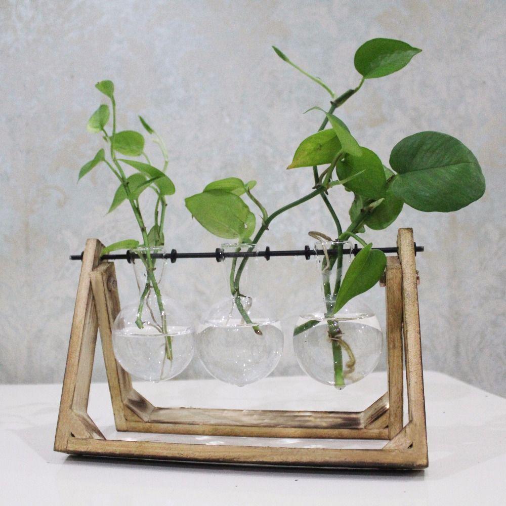 Vintage Style En Verre Table Bonsaï Plante Fleur De Mariage Décoratif Vase Avec Plateau En Bois Décoration de La Maison Accessoires