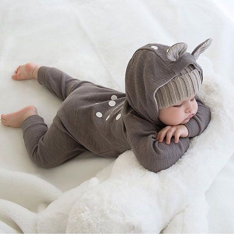 Cute Animal Bear Long Sleeve Cotton Newborn Baby Rompers Back Polka Dot Baby Costume Clothing Outfit Clothes Toddler Jumpsuit