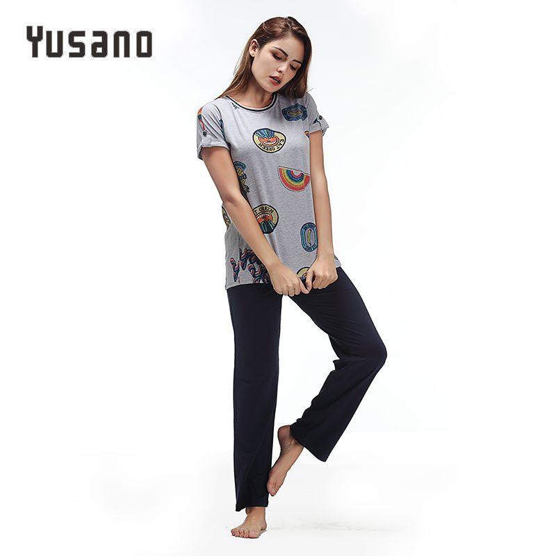 Yusano 2017 Sleepwear Cotton O neck Short Sleeve Pijama De Unicornio Cute Print Blue Grey (T shirt +Long Pants) Sleep Nightwear