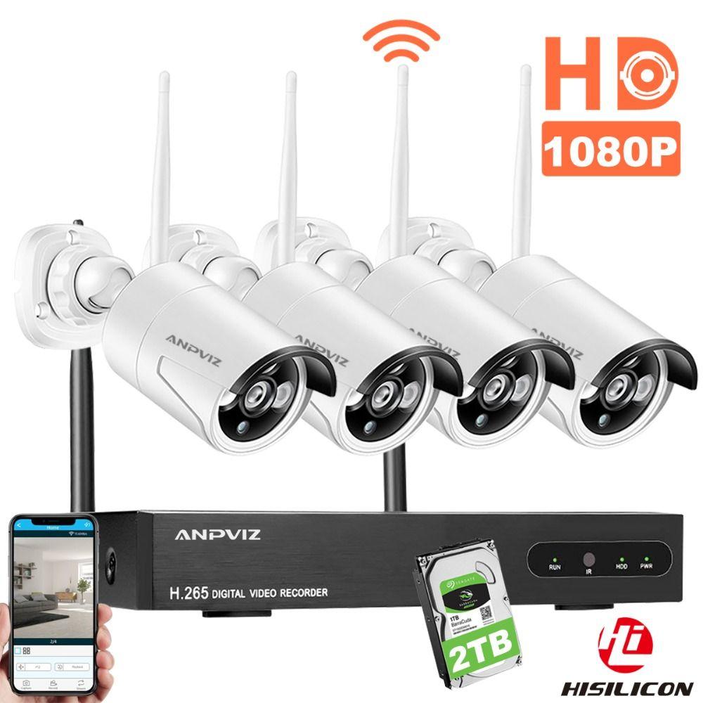 Anpviz CCTV Camera System Wireless HD 4CH 1080P NVR Wifi Camera Kit Video Surveillance Smart Home Security IP Cam Set Outdoor