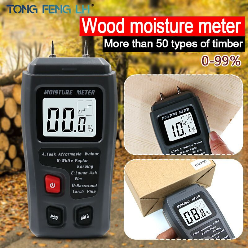 EMT01 Two Pins Digital Wood Moisture Meter 0-99.9% Wood Humidity Tester Timber Damp Detector with Large LCD Display
