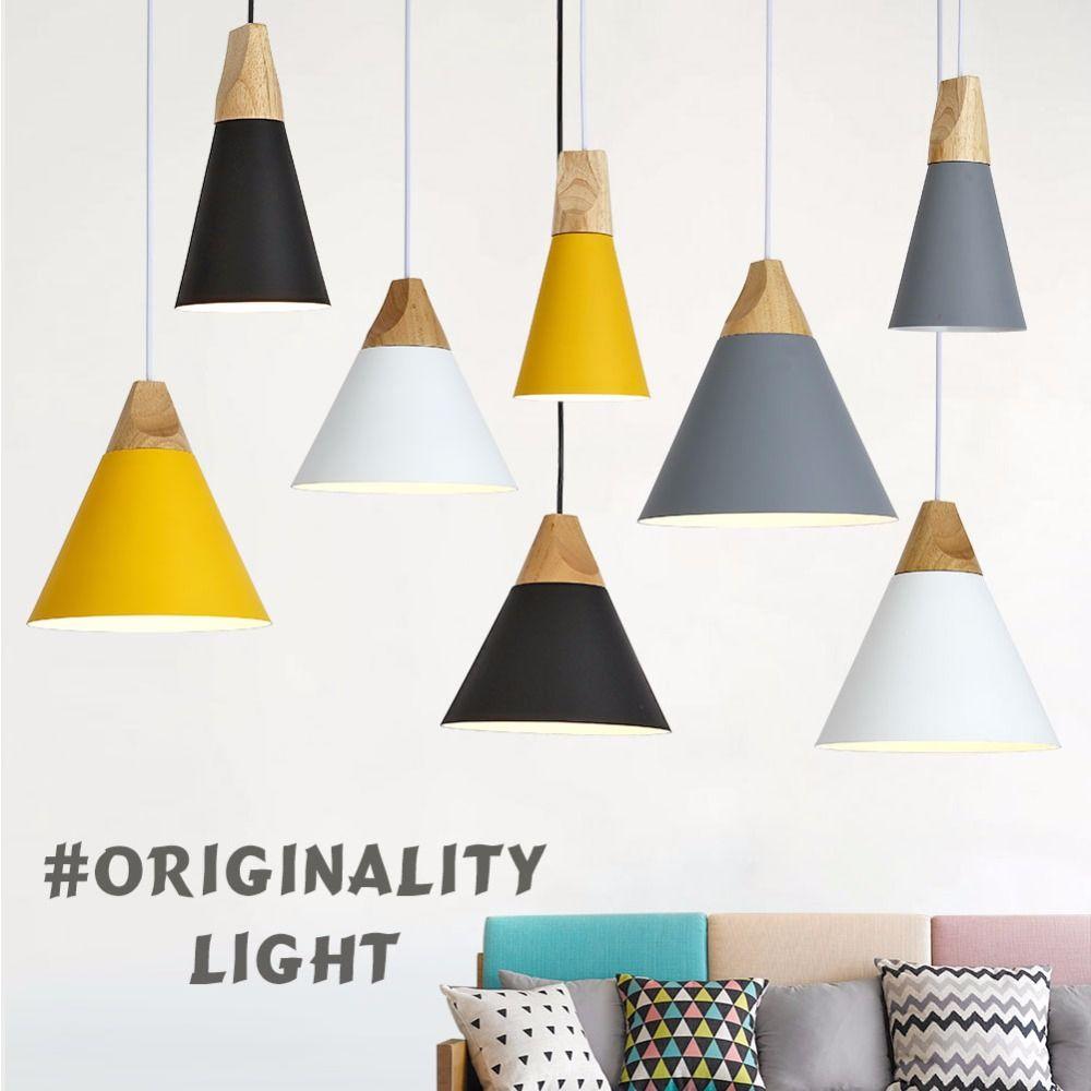 Modern Wood <font><b>Pendant</b></font> Lights Lamparas Colorful Aluminum lamp shade Luminaire Dining Room Lights <font><b>Pendant</b></font> Lamp For Home Lighting