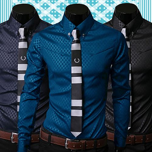 Mode Männer Argyle Luxury Business Stil Slim Fit Langarm Casual Kleid Hemd