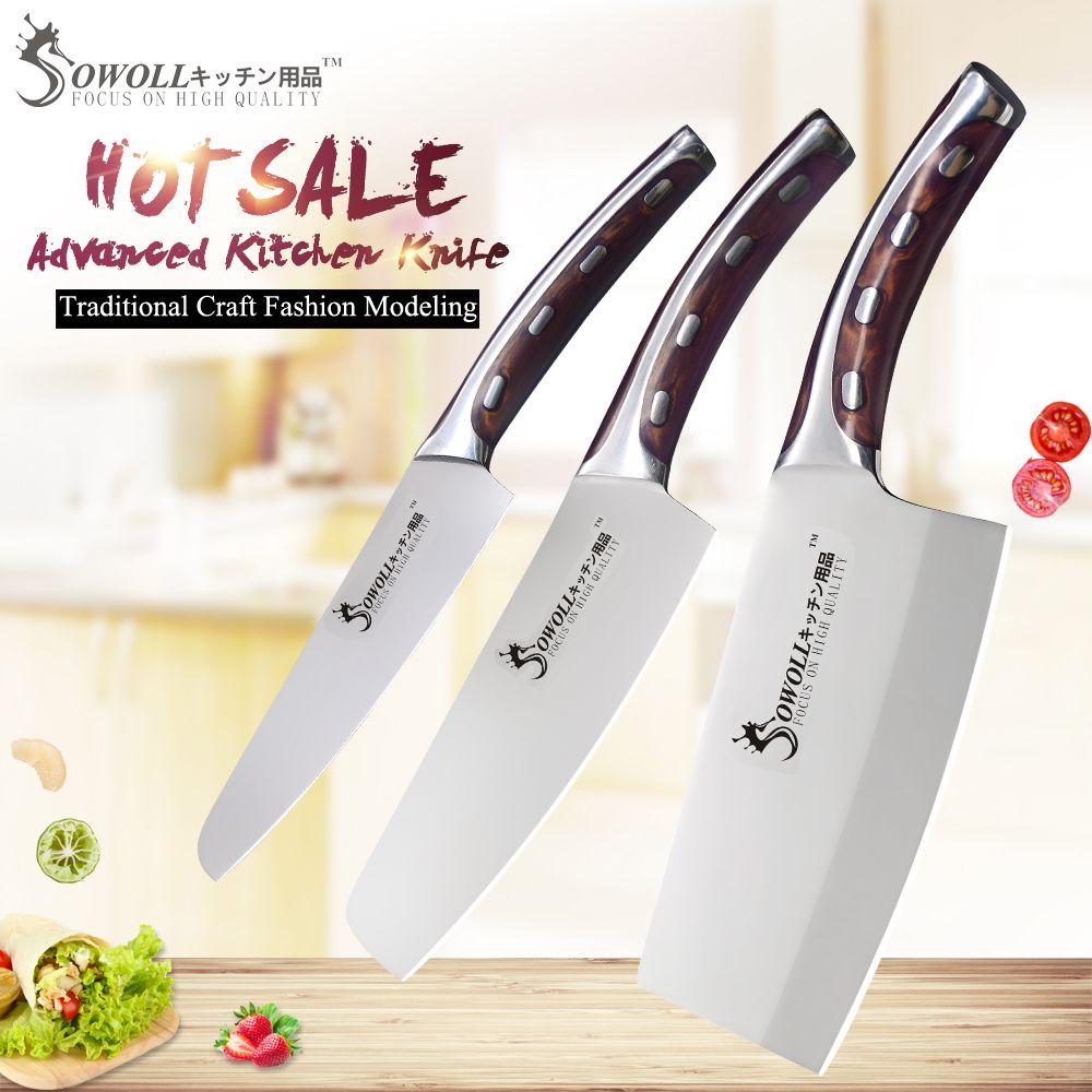 SOWOLL 4cr14mov couteau de cuisine en acier inoxydable ensemble couteau couperet Chef couperet lame Super tranchante ensemble de couteaux à poignée confortable