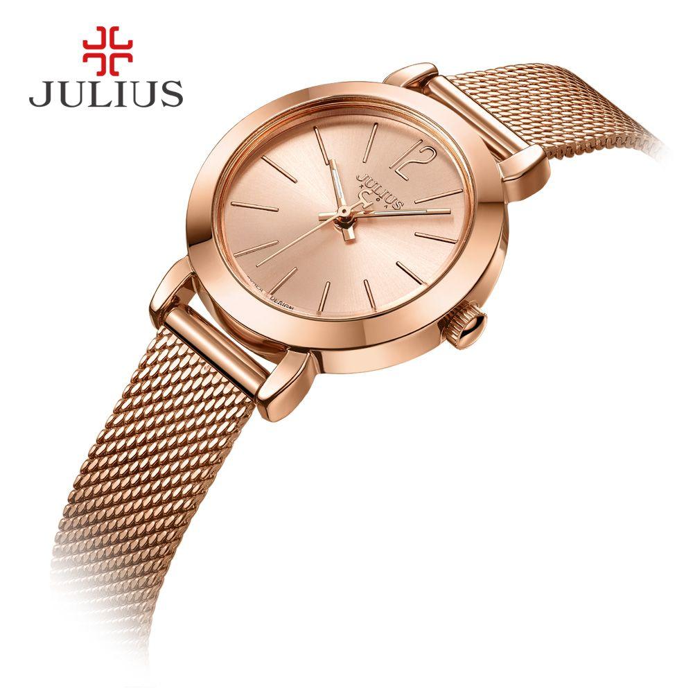JULIUS JA-732 Femelle de Femmes Argent Or Rose Tone Mesh En Acier Inoxydable Quartz Analogique Étanche Mode Montre Casual Montre-Bracelet