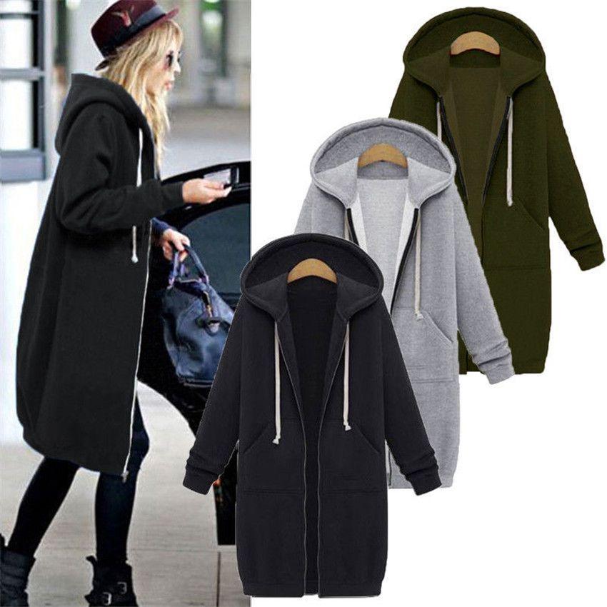 2019 Autumn Winte Women Casual Long Zipper Hooded Jacket Hoodies Sweatshirt Vintage Plus Size 5XL Outwear Hoody Coat Clothing