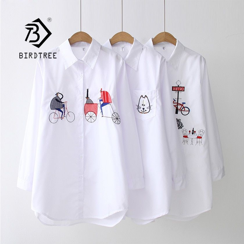 2019 nouveau blanc chemise tenue décontracté bouton haut col rabattu manches longues coton Blouse broderie Feminina offre spéciale T8D427M