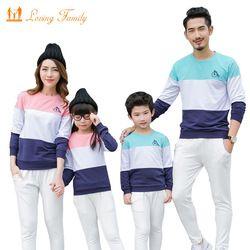 Keluarga Pencocokan Pakaian Katun Stripe Kaos 2019 Musim Semi Musim Gugur Keluarga Terlihat Putri Putri Ayah Anak Keluarga Pakaian Set