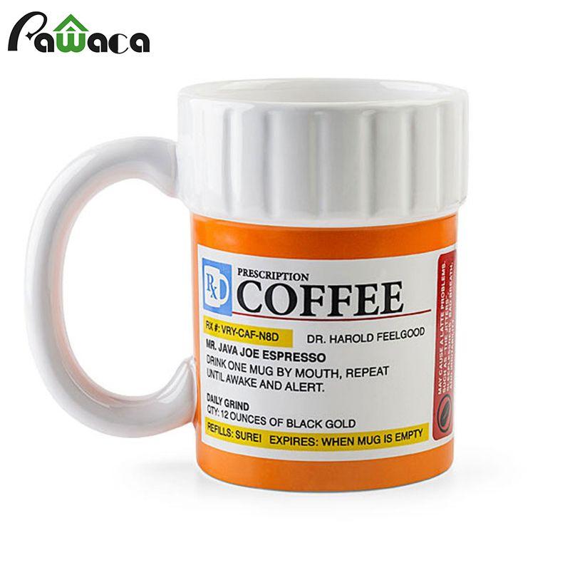 Creative Prescription Coffee Mug Ceramic Cup Milk Mug Water Drinking Cups Funny Gift for the Caffeine <font><b>Lover</b></font>