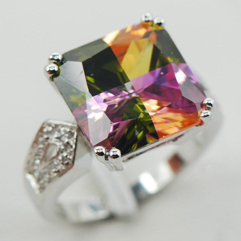 Rainbow Crystal Zircon Fashion Women 925 Sterling Silver Ring F923 Size 6 7 8 9 10