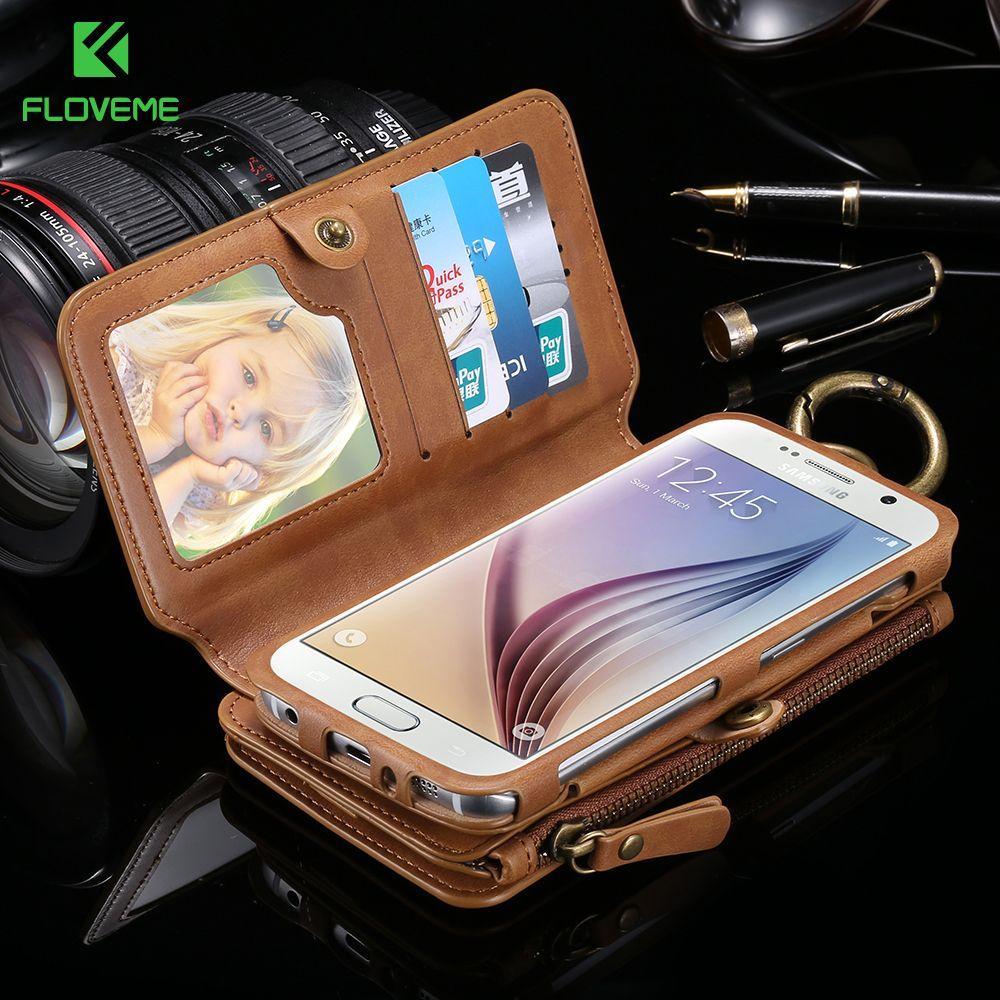 FLOVEME Portefeuille D'affaires Étuis de Téléphone Pour Samsung Galaxy Note 9 8 4 3 5 Fermeture À Glissière En Métal En Cuir Coque Pour samsung S7 S8 S9 Plus