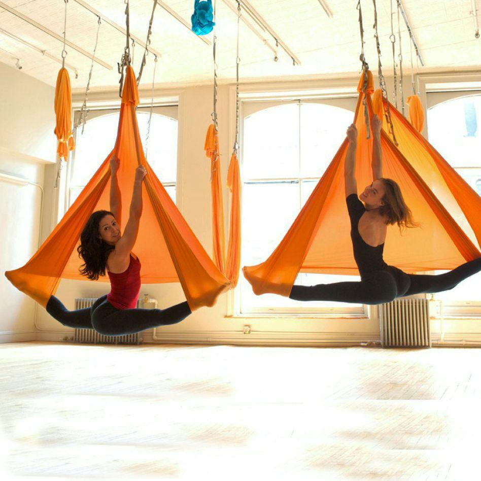 5 meter full set Aerial Anti-gravity Yoga Hammock Swing Yoga +1 pair carabiner +1 pair extender rope +1pair ring mount