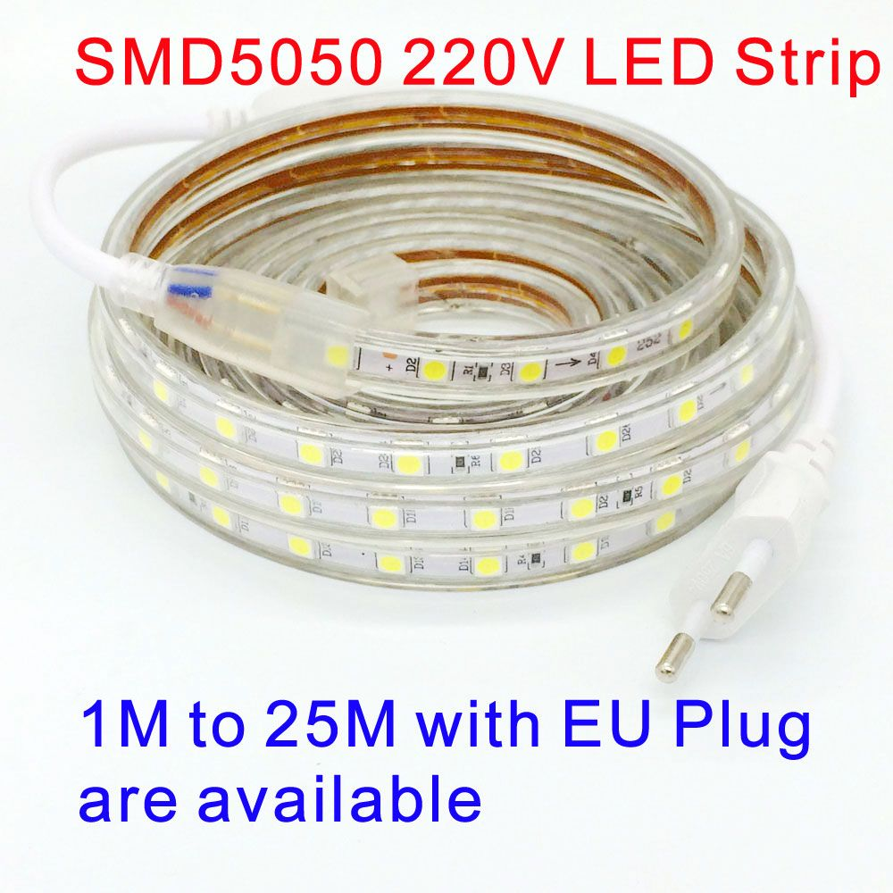 220 V SMD 5050 led light strip 220 V plug Power blanc chaud blanc 60 led/m 300led étanche IP67 led Bandes