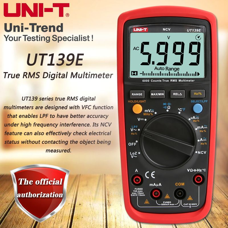UNI-T UT139E True RMS digital multimeter, LPF (low pass filter) / LoZ (low impedance input) function / Temperature test