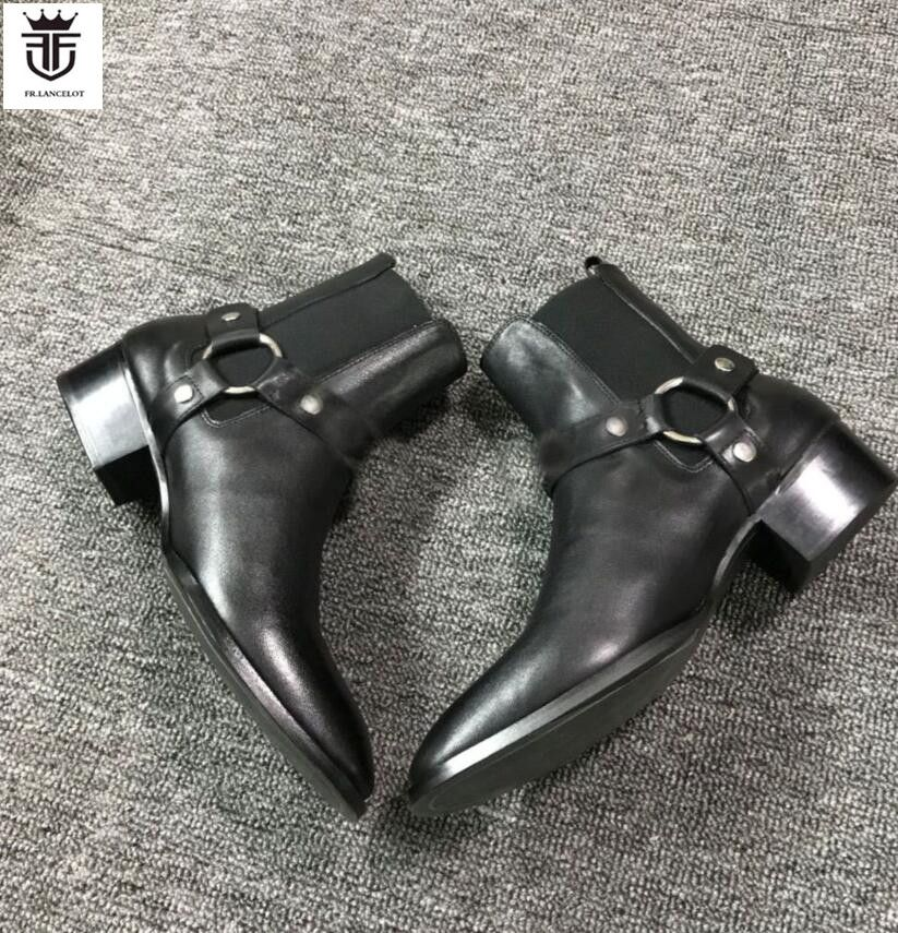 FR.LANCELOT 2018 New real Leather men Ankle Boots Fashion sliver chains Chelsea shoes Boots Men's Fashion Spring Autumn Boots