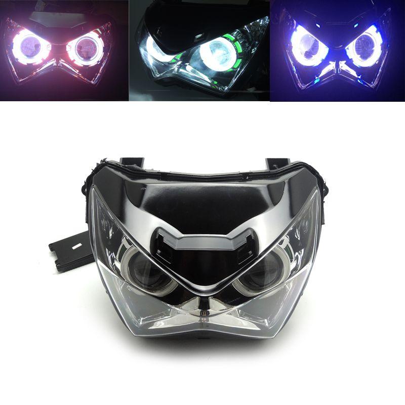 For Kawasaki Z800 Halo Eye HID Projector Headlight Assembly for Kawasaki Z800 2013 2014 2015 2016 Green Red Blue Light Color
