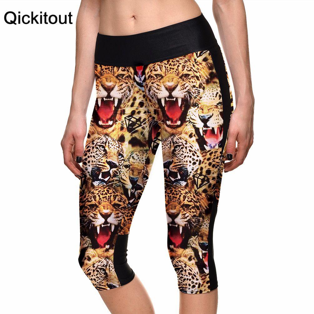 Hot women's 7 point pants Fashion Animal ferocious leopard digital print women high waist Side pocket phone pants Drop shipping
