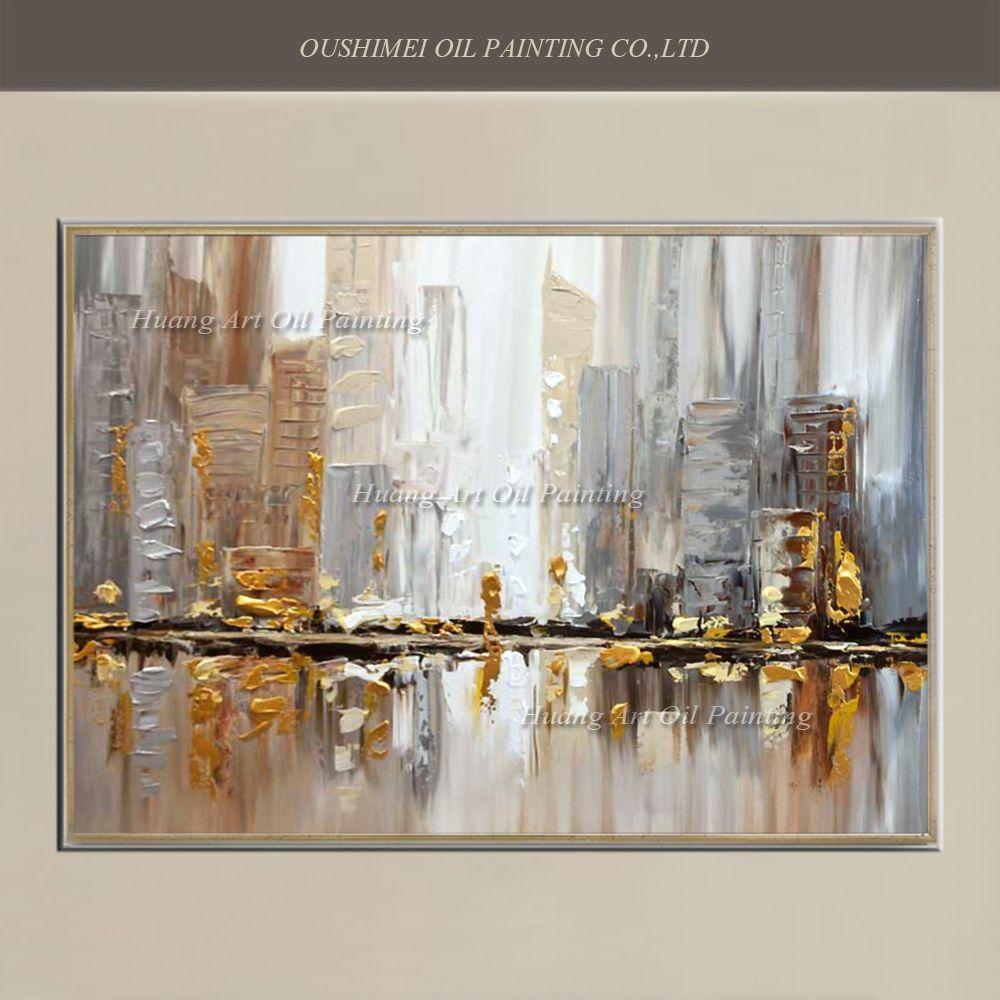 Original peint à la main moderne couteau bâtiment paysage peinture à l'huile mur décor rue paysage pour chambre décor peinture sur toile