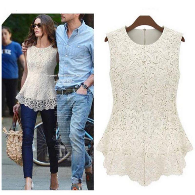 Femmes blanc dentelle Blouses chemise d'été en mousseline de soie Blouse hauts femme Cool Blouse sans manches grande taille femmes vêtements 4XL 5XL 50