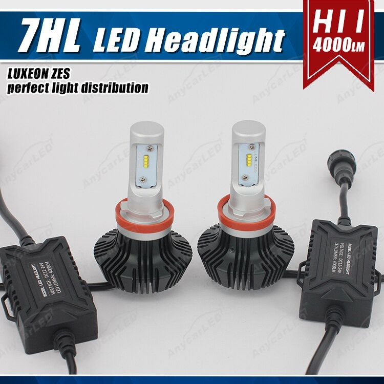 1 Set H8 H9 H11 50W 8000LM G7 Auto LED Headlight Headlamp DRL Fog Bulbs LUMILED LUXEON ZES 16SMD Chips Fanless Super White 6500K